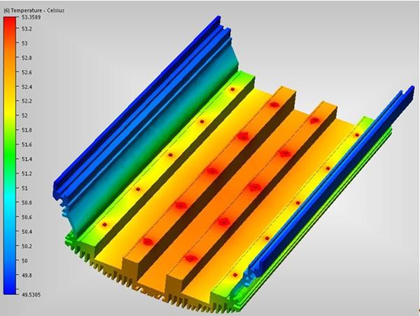 Распределение температур по корпусу светильника ССП01-20